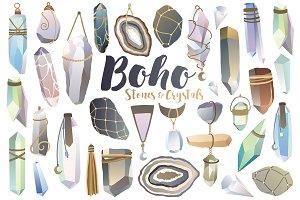 Boho Crystals & Stones Clipart Set