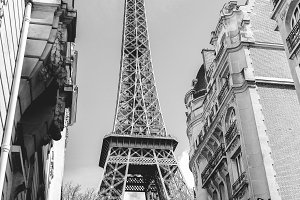 Eiffel Tower B&W- Paris, France