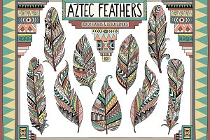Aztec Tribal Feathers Clipart Set