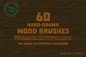 Wood brushes drawn by hand