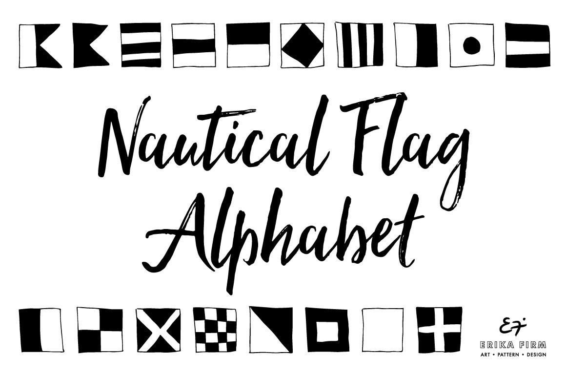 Nautical Flag Alphabet Symbol Fonts Creative Market