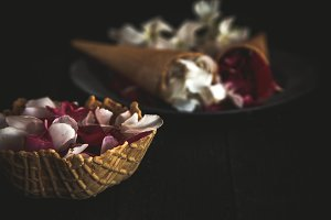 Pink and white flowers in ice cream