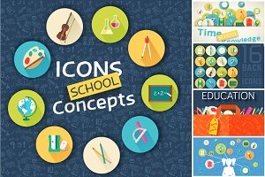 back to school icons vector concept