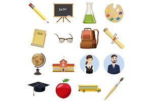 School icons set, cartoon style