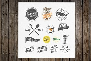Vintage farming design elements