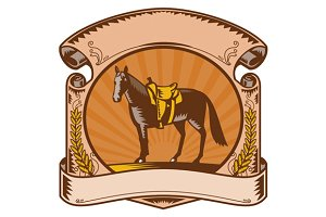 Logo Horse Western Saddle Scroll