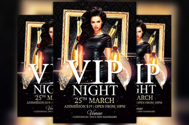 Vip Night Club Flyer Template Flyer Templates Creative Market – Night Club Flyer