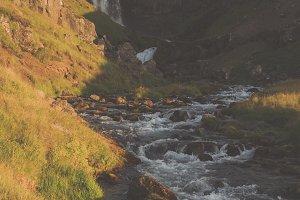 Beautiful Waterfall at Sunset