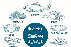 Healthy line doodle seafood