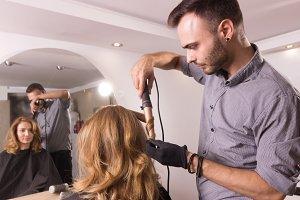 hairstylist curling iron hairdresser