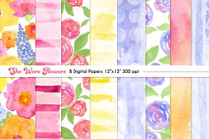 Watercolor Floral Digital Papers