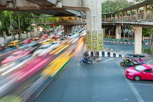 Heavy traffic at Siam Square, Bangkok, Thailand