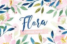 Flora Watercolor Flower Graphics