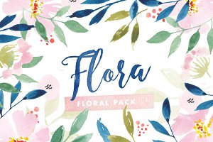 Flora Watercolor Flower Graphics