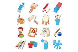 Art icons set, cartoon style