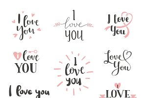 I love You vector set