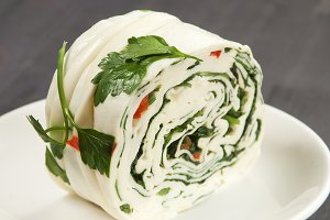 White cheese roll with vegetables