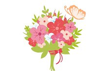 Flowers bouquet with butterfly