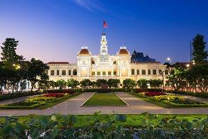 City Hall building at dusk, Ho Chi Minh City, Vietnam.