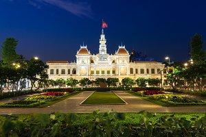 City Hall building at night, Ho Chi Minh City, Vietnam.