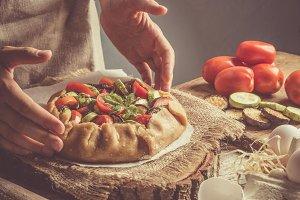 Making ratatouille galette pie