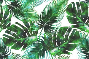Watercolor tropical leaves pattern