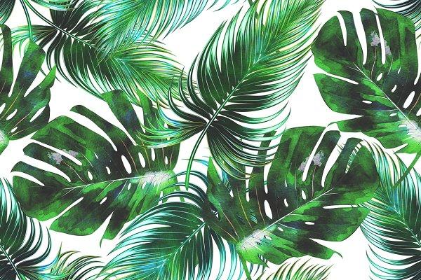 Watercolor tropical leaves pattern