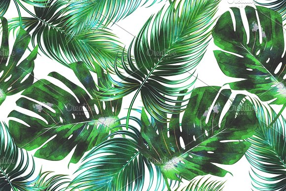 watercolor tropical leaves pattern graphic patterns creative market