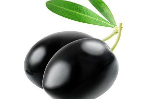 Isolated two black olives