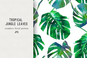 Watercolor jungle leaves pattern