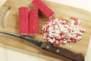 Crab sticks cutted for salad
