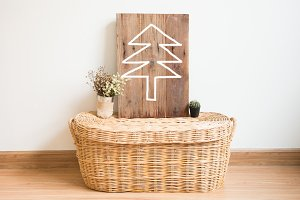 christmas tree on wood frame in inte