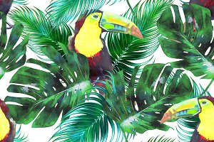 Watercolor toucans,leaves pattern