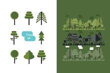 Flat forest landscape+trees set