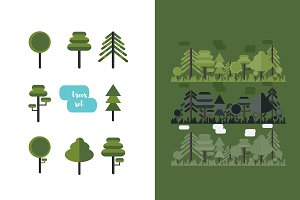 Flat forest landscape+trees set