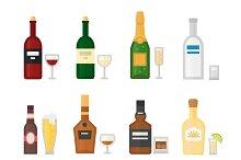 Different alcohol bottle vector