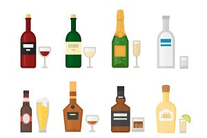 Different alcohol bottle vector