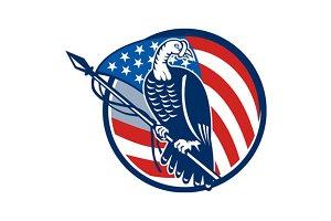 Wild Turkey Perching American Flag