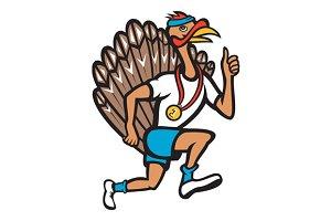 Turkey Run Runner Thumb Up Cartoon