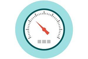 Speedometer icon flat