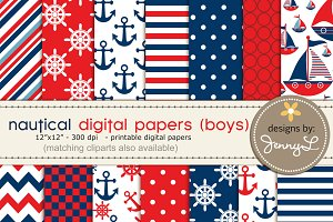 Nautical Boys Digital Papers