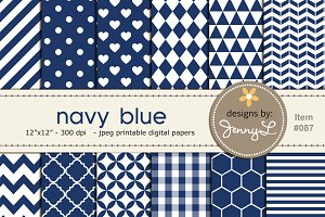 Navy Blue Digital Papers