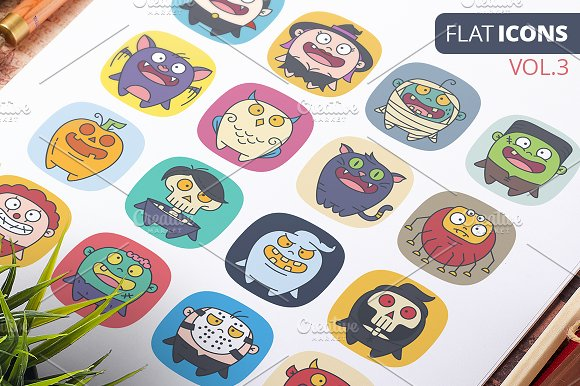 Cute Flat Halloween Characters Vol.3 - Icons