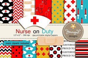 Nurse Digital Papers & Cliparts