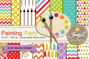 Painting Art Digital Papers Cliparts