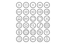Multimedia. 30 linear icons. Vector