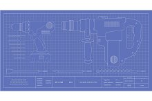 Drill, hammer drill and bits. Vector