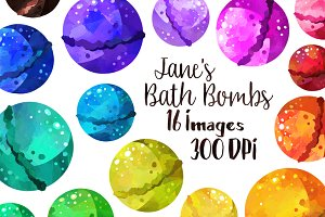 Watercolor Bath Bombs Clipart