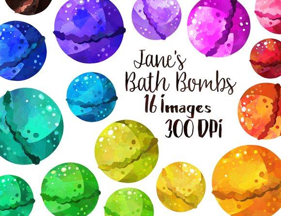 Watercolor Bath Bombs Clipart Illustrations Creative Market Adorable Bathroom Clipart Creative