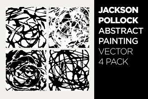 Abstract Drip Painting Vector 4 PACK